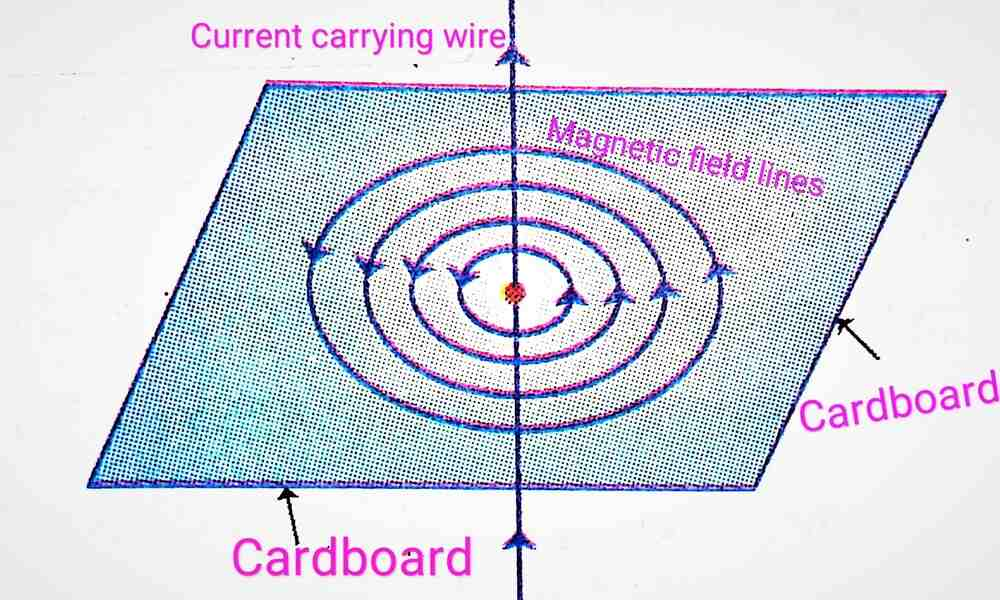 Magnetic field lines for a current carrying straight wire